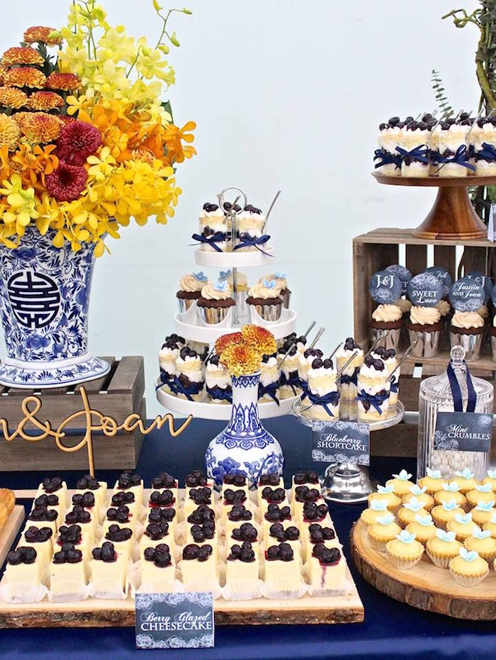 close up shot of a rustic asian wedding dessert table via karas party ideas karaspartyideas