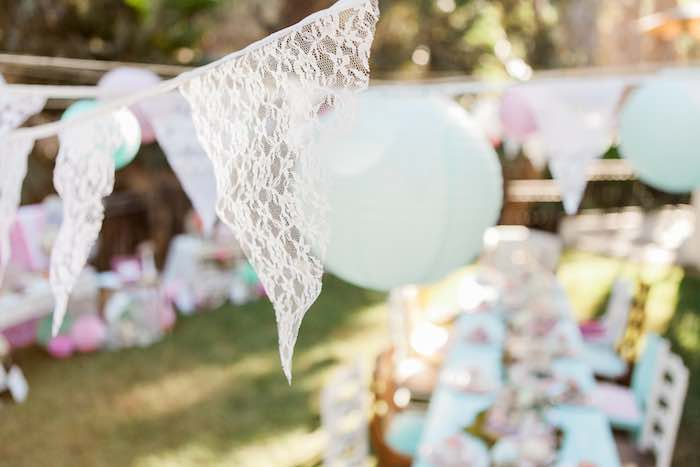 Lace Banners + Hanging Paper Lanterns from a Shabby Chic Alice In Wonderland Birthday Party via Kara's Party Ideas KarasPartyIdeas.com (52)