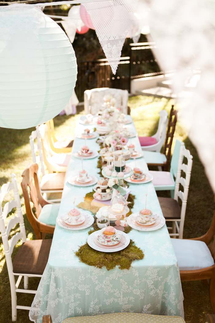 Dining Table from a Shabby Chic Alice In Wonderland Birthday Party via Kara's Party Ideas KarasPartyIdeas.com (51)