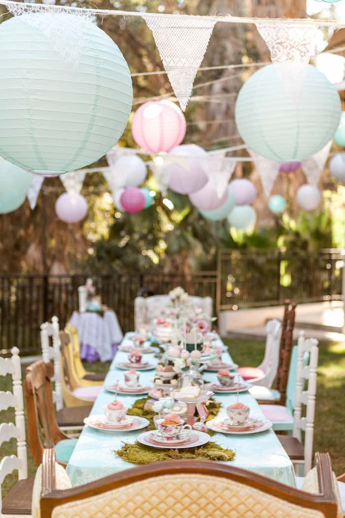 Dining Table from a Shabby Chic Alice In Wonderland Birthday Party via Kara's Party Ideas KarasPartyIdeas.com (50)