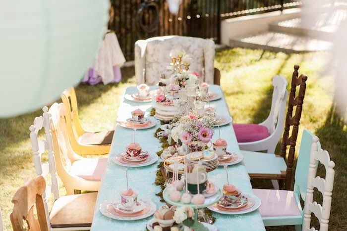 Dining Table from a Shabby Chic Alice In Wonderland Birthday Party via Kara's Party Ideas KarasPartyIdeas.com (48)