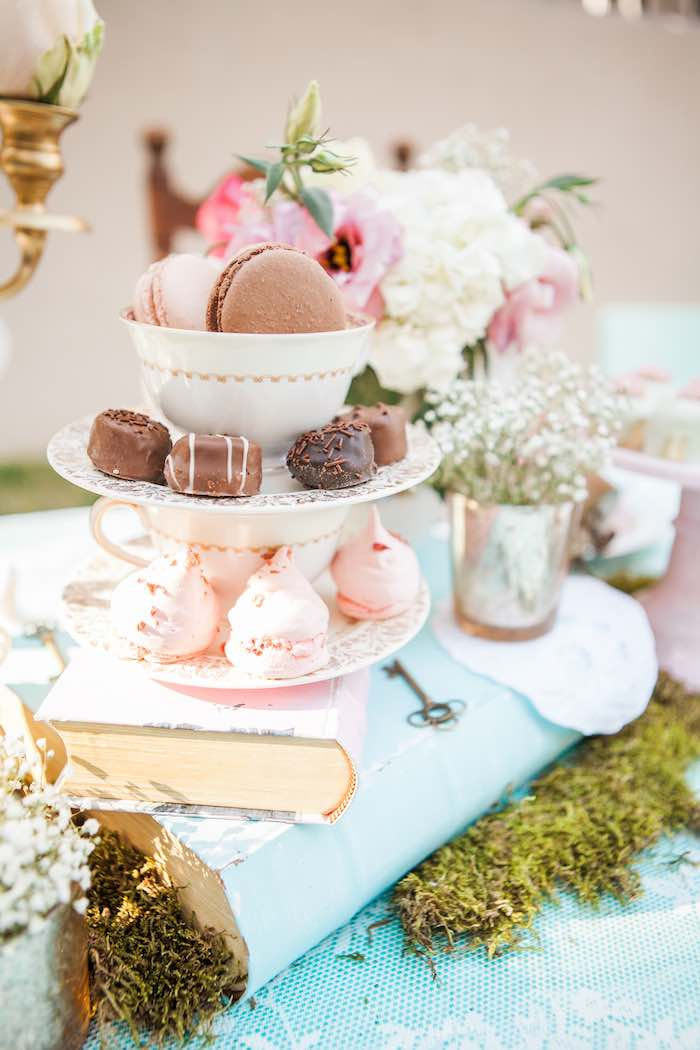 Sweets + Decor from a Shabby Chic Alice In Wonderland Birthday Party via Kara's Party Ideas KarasPartyIdeas.com (39)