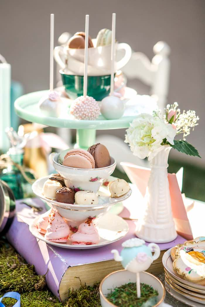 Decor + Sweets from a Shabby Chic Alice In Wonderland Birthday Party via Kara's Party Ideas KarasPartyIdeas.com (37)