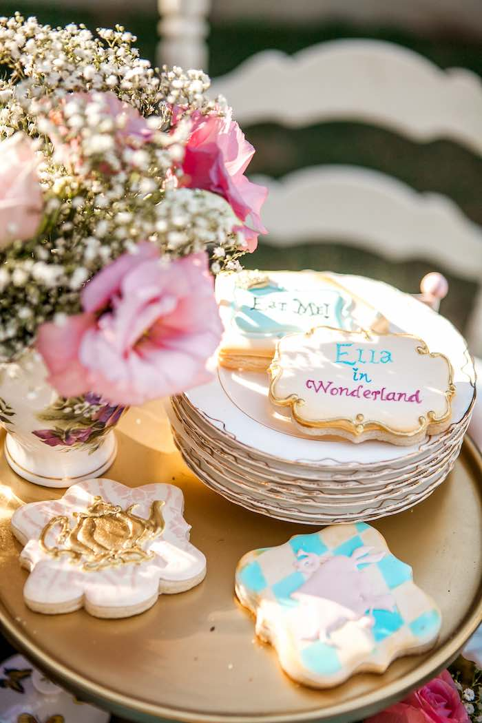 Cookies from a Shabby Chic Alice In Wonderland Birthday Party via Kara's Party Ideas KarasPartyIdeas.com (36)
