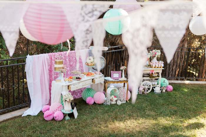 Party Tables from a Shabby Chic Alice In Wonderland Birthday Party via Kara's Party Ideas KarasPartyIdeas.com (35)