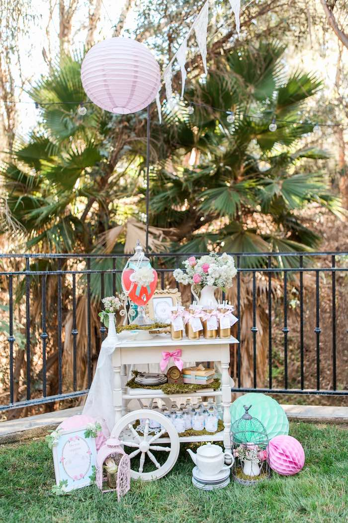 Drink Cart from a Shabby Chic Alice In Wonderland Birthday Party via Kara's Party Ideas KarasPartyIdeas.com (34)