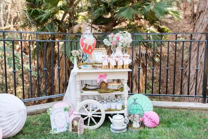 Drink Cart from a Shabby Chic Alice In Wonderland Birthday Party via Kara's Party Ideas KarasPartyIdeas.com (33)