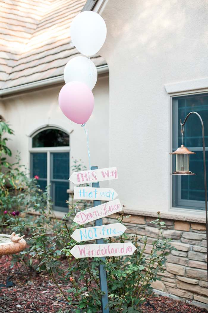 Entrance Sign from a Shabby Chic Alice In Wonderland Birthday Party via Kara's Party Ideas KarasPartyIdeas.com (60)