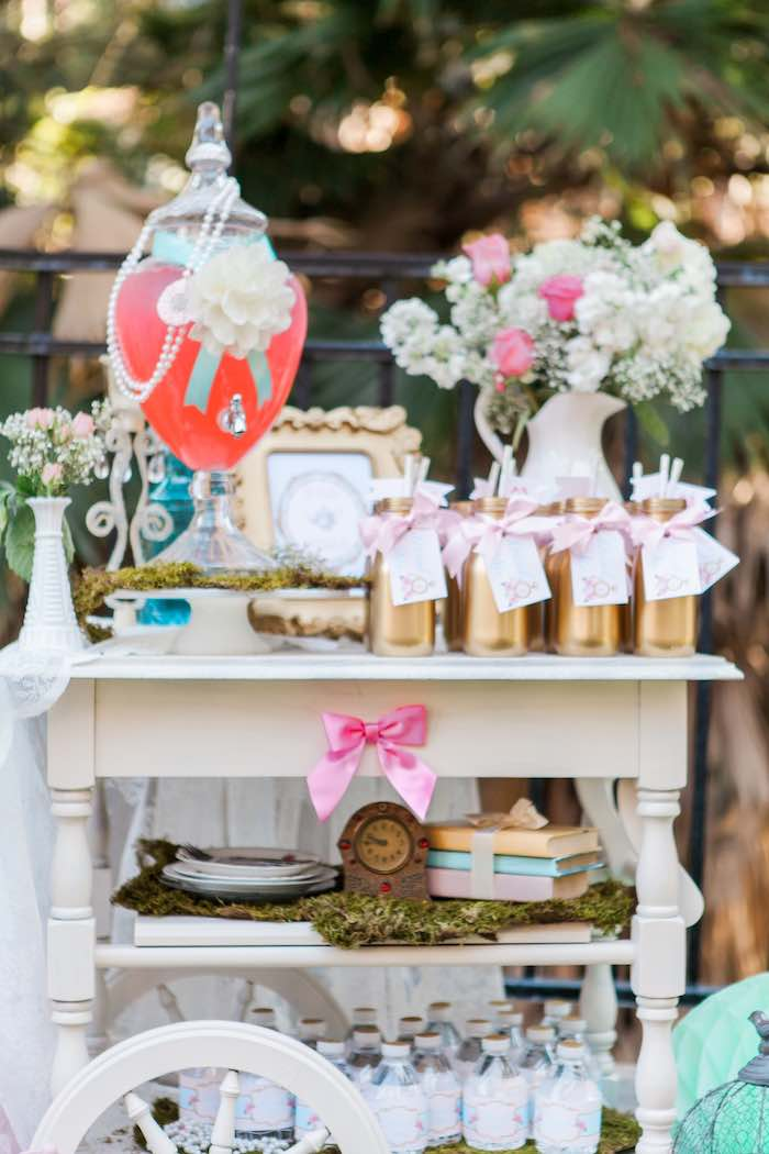 Drink Cart from a Shabby Chic Alice In Wonderland Birthday Party via Kara's Party Ideas KarasPartyIdeas.com (32)