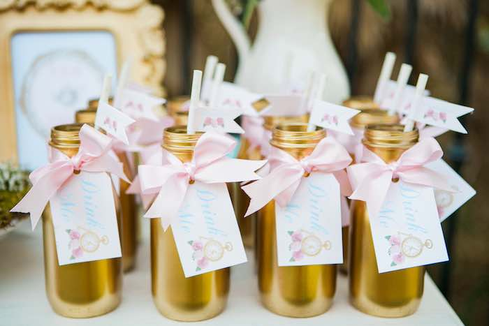 Drink Bottles from a Shabby Chic Alice In Wonderland Birthday Party via Kara's Party Ideas KarasPartyIdeas.com (31)