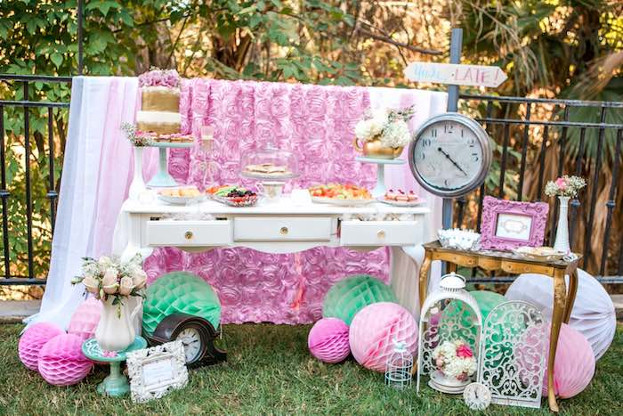 Sweet + Snack Table from a Shabby Chic Alice In Wonderland Birthday Party via Kara's Party Ideas KarasPartyIdeas.com (28)