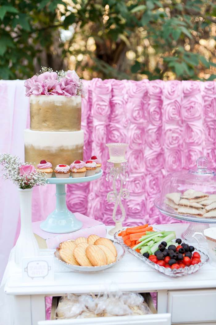 Sweet + Snack Table from a Shabby Chic Alice In Wonderland Birthday Party via Kara's Party Ideas KarasPartyIdeas.com (27)