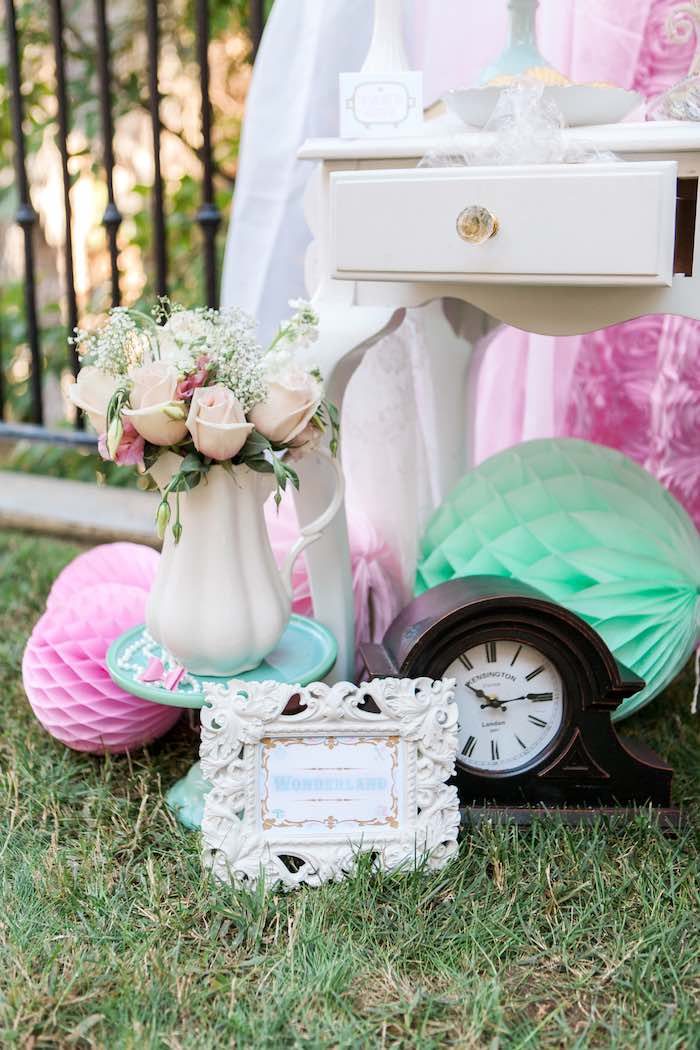 Decor from a Shabby Chic Alice In Wonderland Birthday Party via Kara's Party Ideas KarasPartyIdeas.com (22)