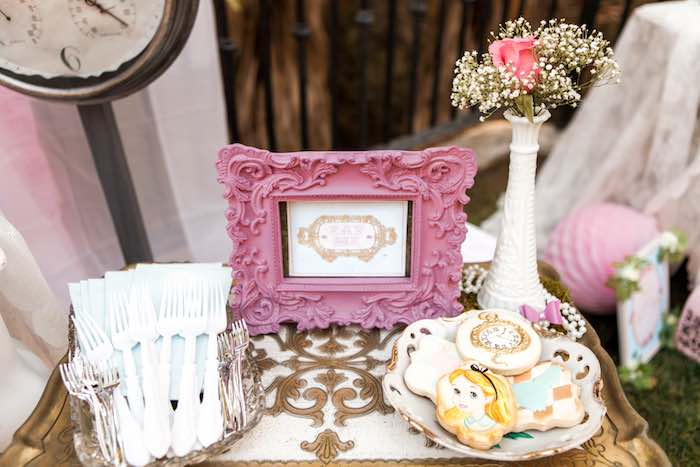 """Eat Me"" Table from a Shabby Chic Alice In Wonderland Birthday Party via Kara's Party Ideas KarasPartyIdeas.com (20)"