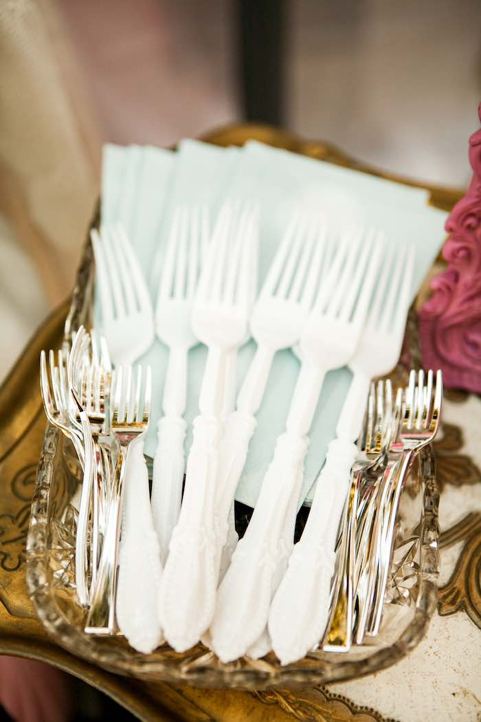Forks + Napkins from a Shabby Chic Alice In Wonderland Birthday Party via Kara's Party Ideas KarasPartyIdeas.com (19)