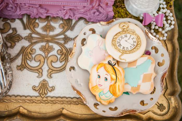 Cookies from a Shabby Chic Alice In Wonderland Birthday Party via Kara's Party Ideas KarasPartyIdeas.com (18)