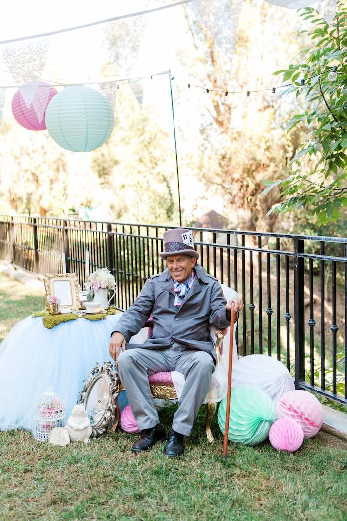 Mad Hatter at a Shabby Chic Alice In Wonderland Birthday Party via Kara's Party Ideas KarasPartyIdeas.com (17)