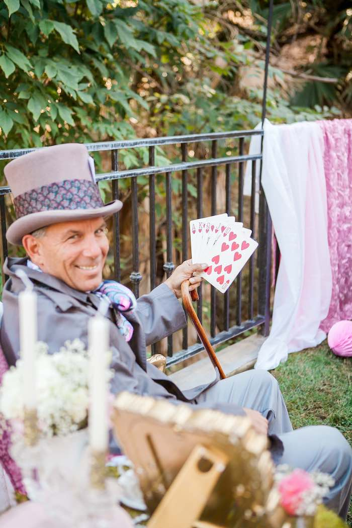 Mad Hatter at a Shabby Chic Alice In Wonderland Birthday Party via Kara's Party Ideas KarasPartyIdeas.com (16)
