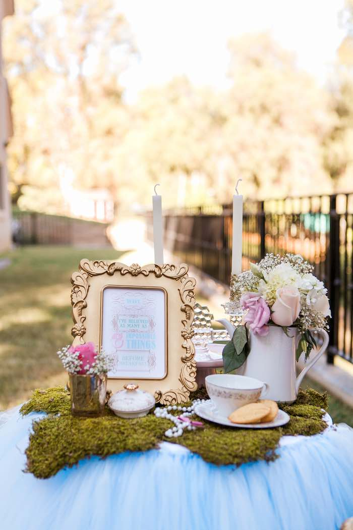 Table from a Shabby Chic Alice In Wonderland Birthday Party via Kara's Party Ideas KarasPartyIdeas.com (15)