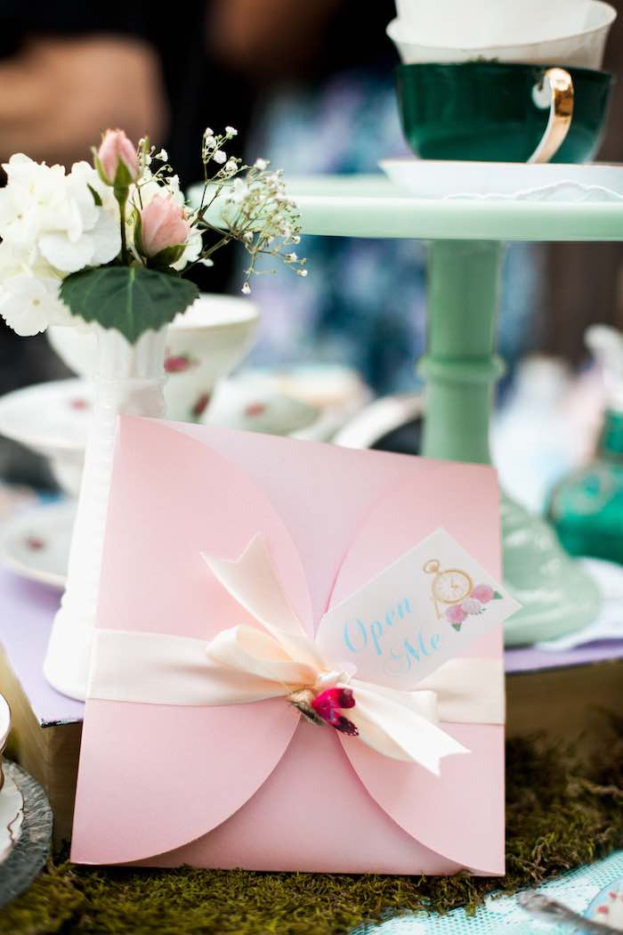 Invitation from a Shabby Chic Alice In Wonderland Birthday Party via Kara's Party Ideas KarasPartyIdeas.com (58)