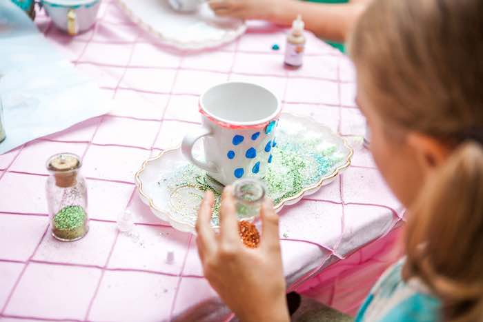 Cup decorating activity from a Shabby Chic Alice In Wonderland Birthday Party via Kara's Party Ideas KarasPartyIdeas.com (12)