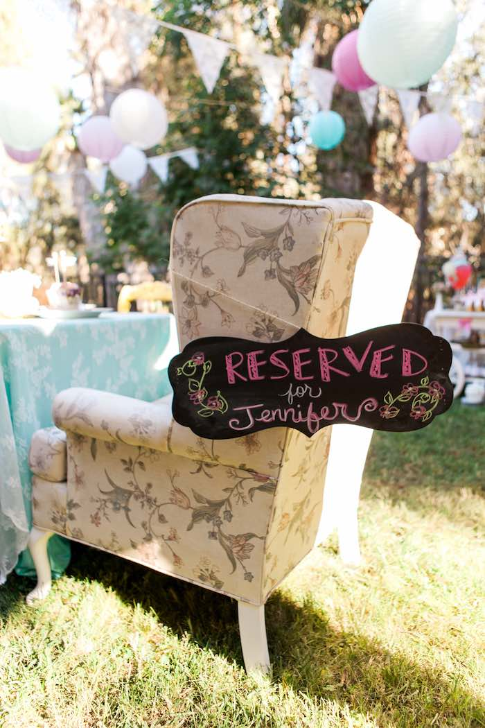 Birthday Girl's Chair from a Shabby Chic Alice In Wonderland Birthday Party via Kara's Party Ideas KarasPartyIdeas.com (11)