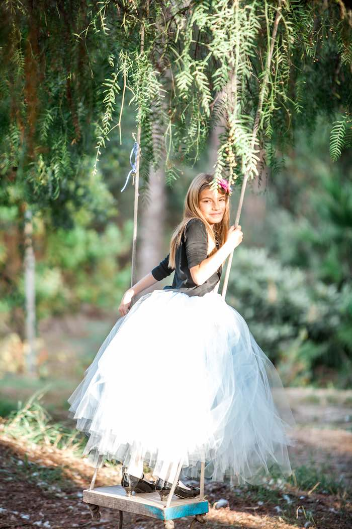 Alice in Wonderland on a Swing from a Shabby Chic Alice In Wonderland Birthday Party via Kara's Party Ideas KarasPartyIdeas.com (3)