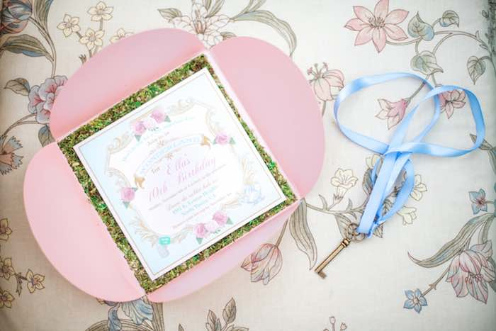 Invitation from a Shabby Chic Alice In Wonderland Birthday Party via Kara's Party Ideas KarasPartyIdeas.com (57)