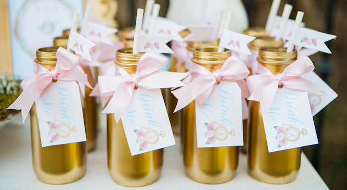 Drink Bottles from a Shabby Chic Alice In Wonderland Birthday Party via Kara's Party Ideas KarasPartyIdeas.com (1)