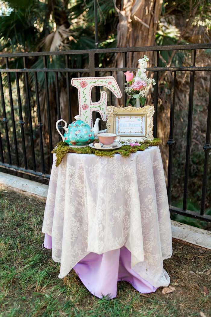 Table from a Shabby Chic Alice In Wonderland Birthday Party via Kara's Party Ideas KarasPartyIdeas.com (56)