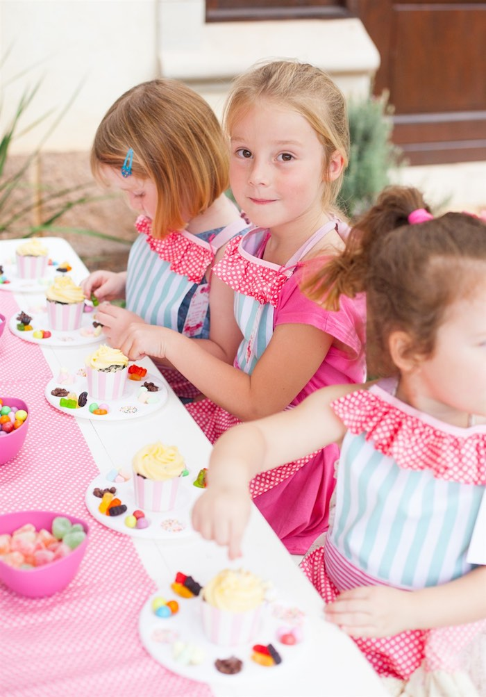 Party Girls Decorating Cupcakes from a Shabby Chic Baking Themed Birthday Party via Kara's Party Ideas KarasPartyIdeas.com (7)