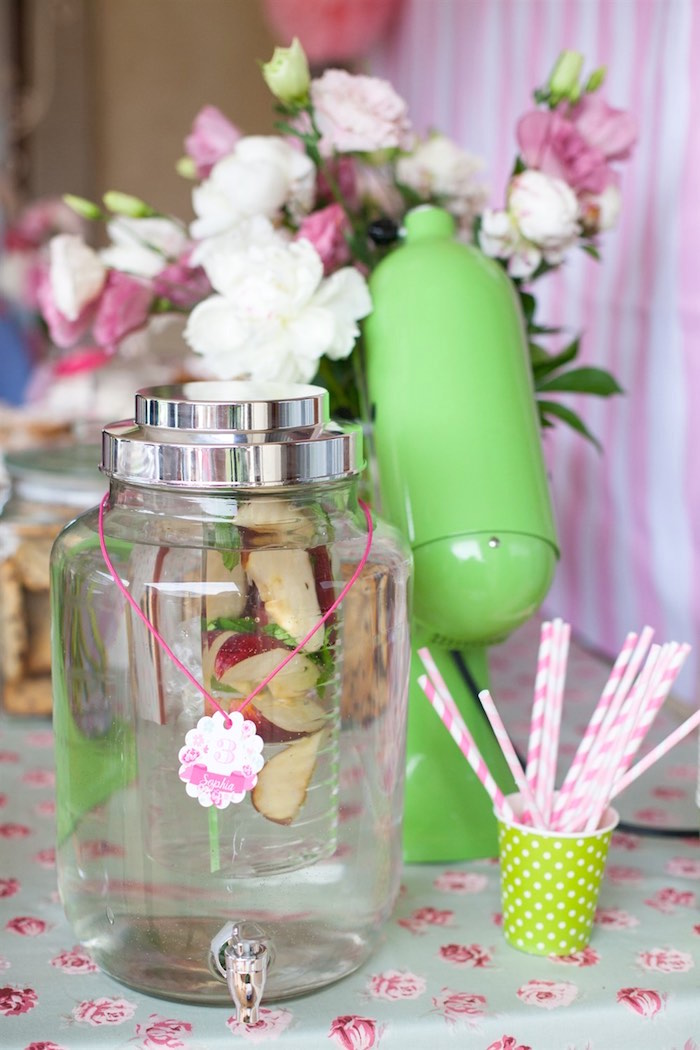 Drink Dispenser from a Shabby Chic Baking Themed Birthday Party via Kara's Party Ideas KarasPartyIdeas.com (4)