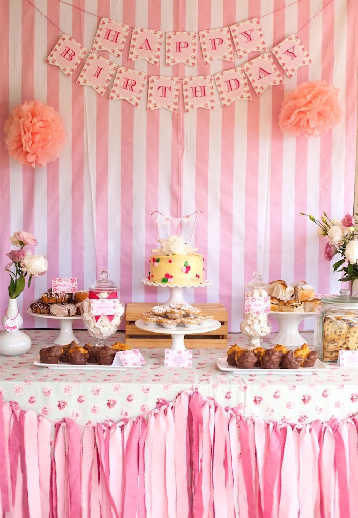 Sweet Table from a Shabby Chic Baking Themed Birthday Party via Kara's Party Ideas KarasPartyIdeas.com (18)