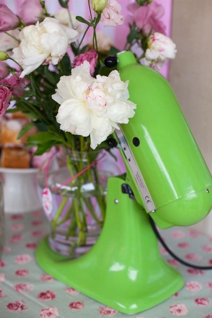 Mixer Floral Arrangement from a Shabby Chic Baking Themed Birthday Party via Kara's Party Ideas KarasPartyIdeas.com (15)