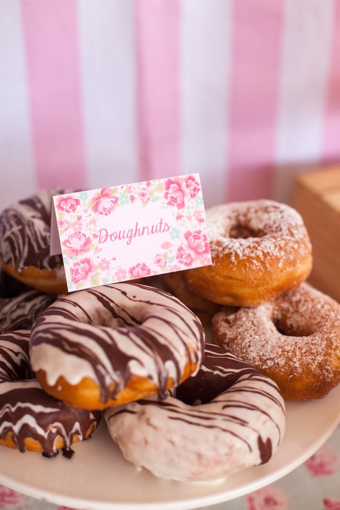 Doughnuts from a Shabby Chic Baking Themed Birthday Party via Kara's Party Ideas KarasPartyIdeas.com (13)