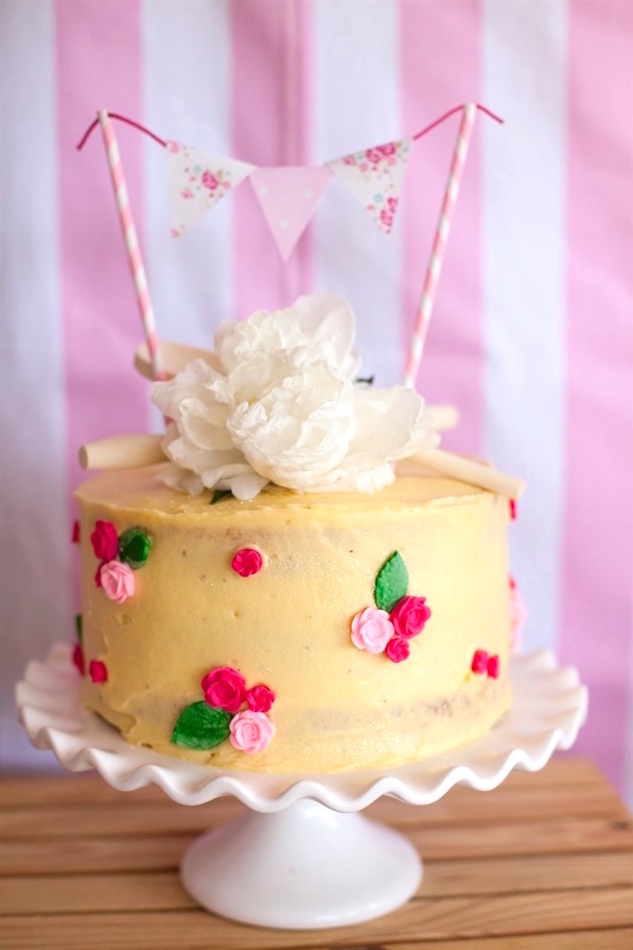Cake from a Shabby Chic Baking Themed Birthday Party via Kara's Party Ideas KarasPartyIdeas.com (12)