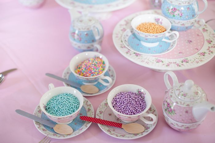 Toppings to decorate cupcakes placed in tea cups from a Sleepover Birthday Party via Kara's Party Ideas | KarasPartyIdeas.com (7)