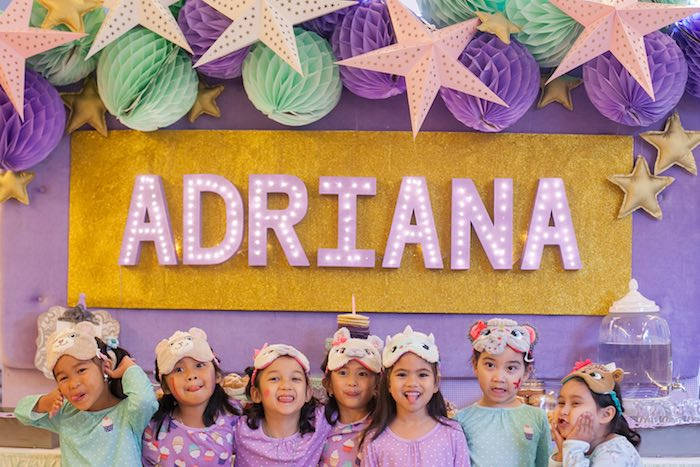 Marquee Letter Name Sign + Girls from a Sleepover Birthday Party via Kara's Party Ideas | KarasPartyIdeas.com (5)