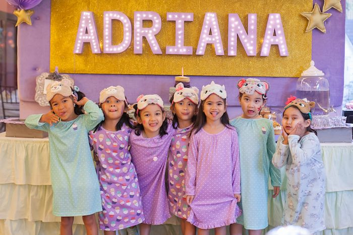 Girls from a Sleepover Birthday Party via Kara's Party Ideas | KarasPartyIdeas.com (3)