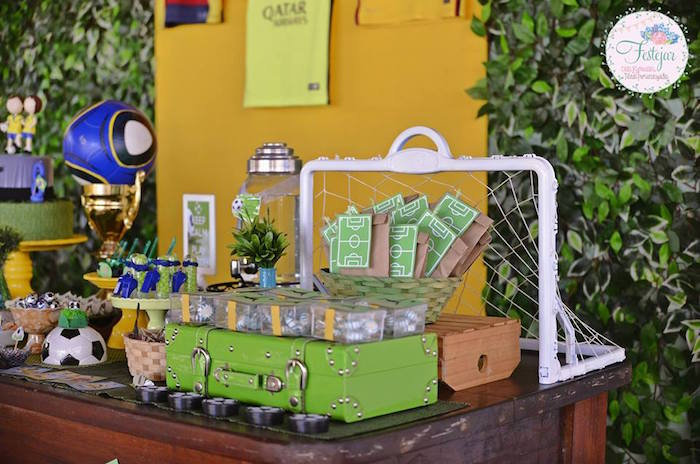 Decor & Sweets from atop a Dessert Table from a Soccer Themed Birthday Party via Kara's Party Ideas | KarasPartyIdeas.com | The Place for All Things Party! (15)