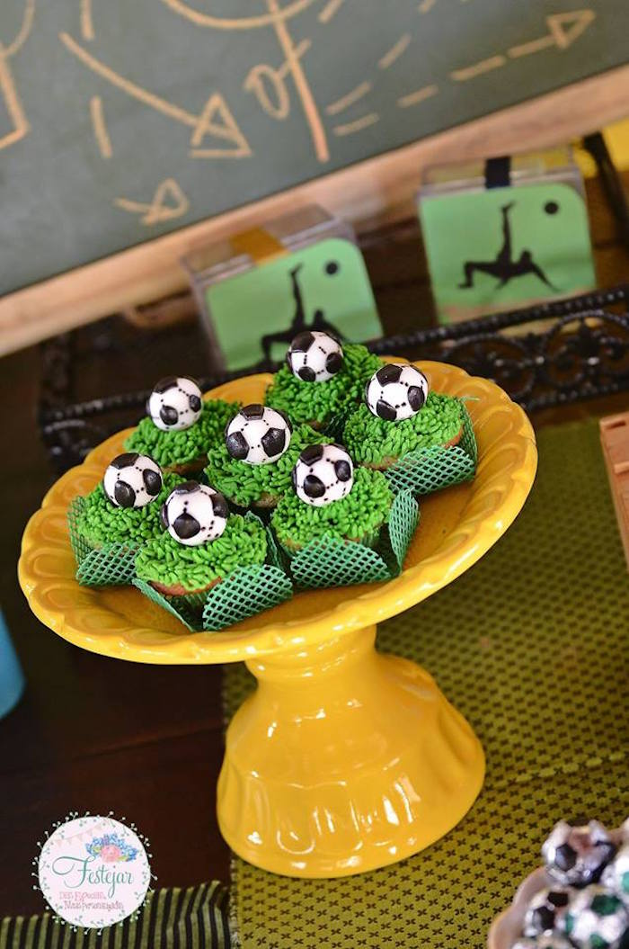 Cupcakes Topped with Soccer Balls from a Soccer Themed Birthday Party via Kara's Party Ideas | KarasPartyIdeas.com | The Place for All Things Party! (13)