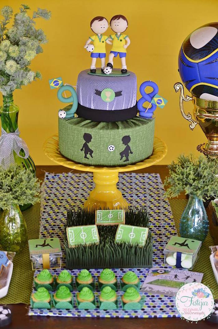 Decorative Fake Cake from a Futbol Birthday Party via Kara's Party Ideas | KarasPartyIdeas.com | The Place for All Things Party! (9)