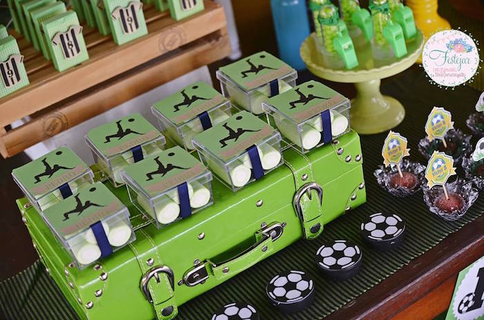 Favor Boxes from a Soccer Themed Birthday Party via Kara's Party Ideas | KarasPartyIdeas.com | The Place for All Things Party! (5)