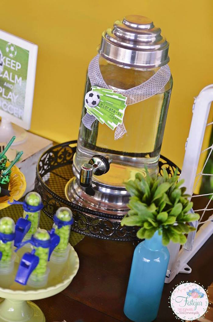 Drink Dispenser from a Soccer Themed Birthday Party via Kara's Party Ideas | KarasPartyIdeas.com | The Place for All Things Party! (20)