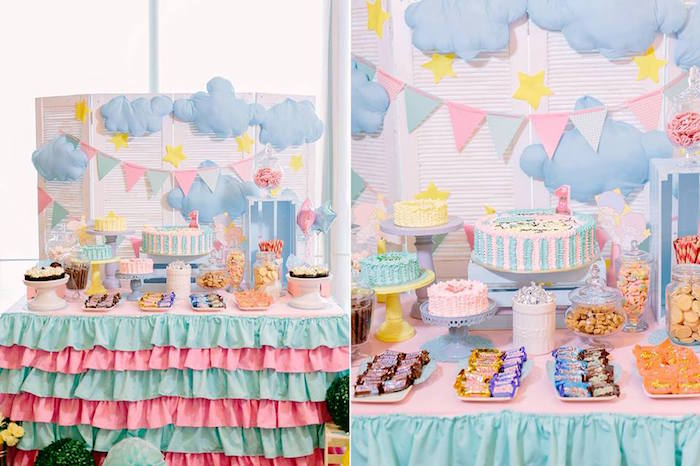 Cool Sweet Table from a Sweet Dreams Little Twin Star Inspired Birthday Party via Kara us Party