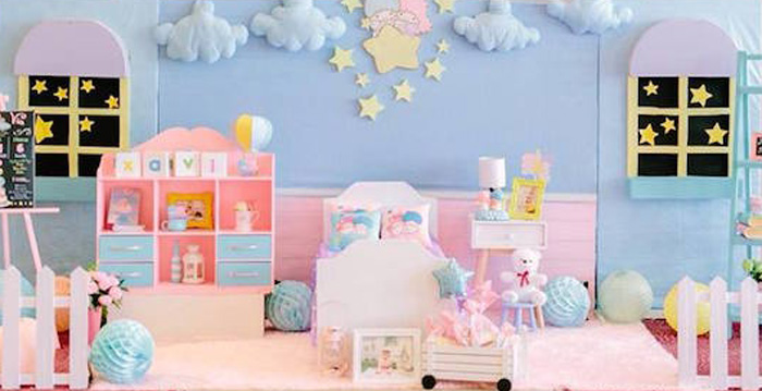 Backdrop from a Sweet Dreams + Little Twin Star Inspired Birthday Party via Kara's Party Ideas KarasPartyIdeas.com (1)