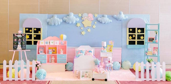 Kara 39 s party ideas sweet dreams little twin star inspired for Backdrop decoration for birthday