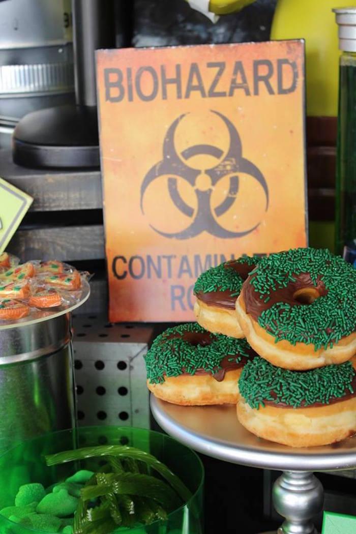 Biohazard Doughnuts from a Teenage Mutant Ninja Turtles Party via Kara's Party Ideas | KarasPartyIdeas.com (14)