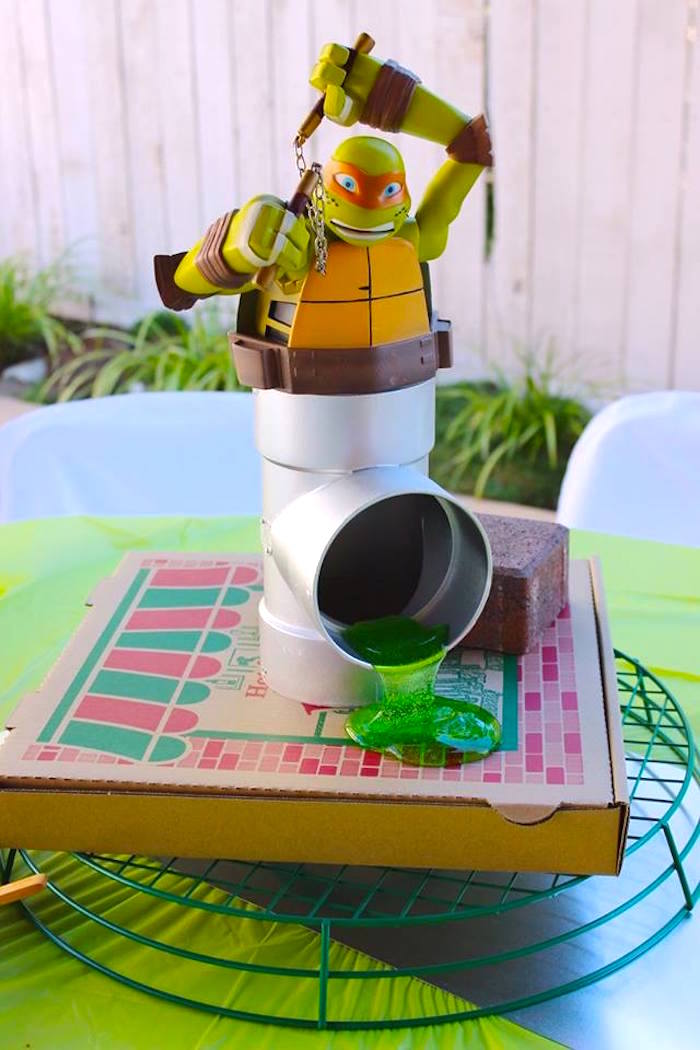Michelangelo Table Centerpiece from a Teenage Mutant Ninja Turtles Party via Kara's Party Ideas | KarasPartyIdeas.com (12)