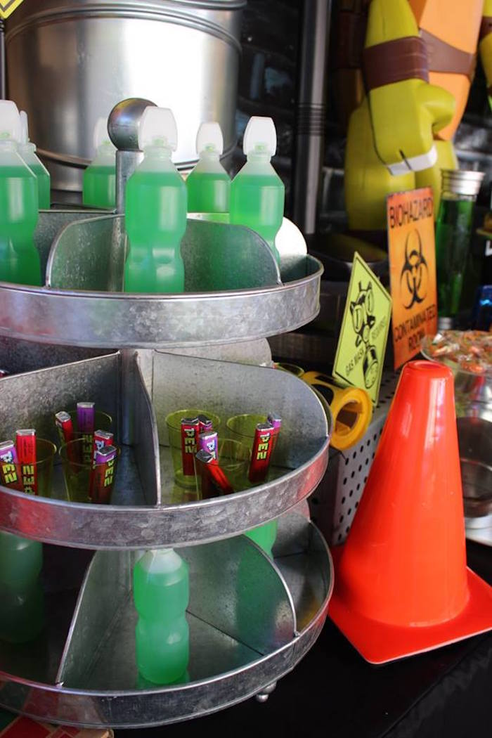 Drink Stand from a Teenage Mutant Ninja Turtles Party via Kara's Party Ideas | KarasPartyIdeas.com (11)